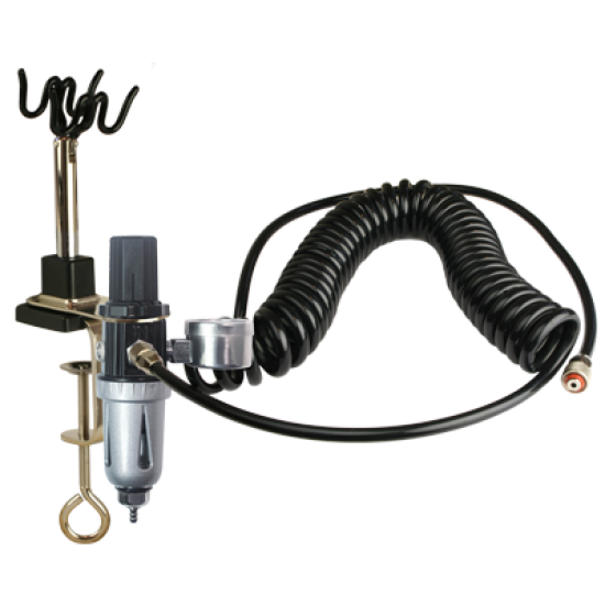 Sparmax 2-Way Airbrush Holder/Hanger with Air Pressure Regulator, Moisture Filter, bracket and cooling hose