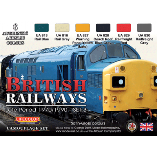 LifeColor British Railways - Late Period 1970/1990 - Set 3 (22ml x 6)