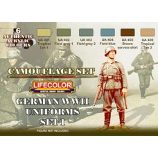 LifeColor German WWII Uniforms Set 1 (22ml x 6)